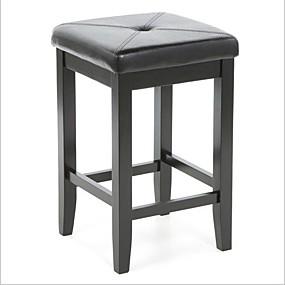 preiswerte Barhocker-2er-Set - schwarze 24-Zoll-Barhocker ohne Rückenlehne mit Kunstledersitz