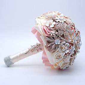 economico Bouquet sposa-Bouquet sposa Bouquet Matrimonio / Ricevimento di matrimonio Nastri / Cristalli / Poliestere 27 cm ca.