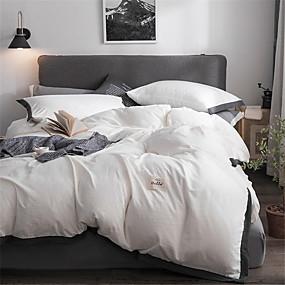 preiswerte Chinesische rote Bettbezüge-Bettbezug-Sets Solide Polyester / Baumwolle Garngefärbt 4 StückBedding Sets