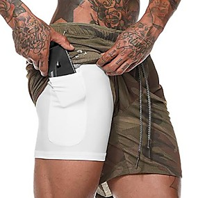 cheap Running, Jogging & Walking-Men's Running Shorts Athletic Shorts Workout Shorts 2 in 1 with Phone Pocket Drawstring Sports Shorts 3/4 Tights Bottoms Running Fitness Breathable Quick Dry Soft Plus Size Camo Camouflage Navy White