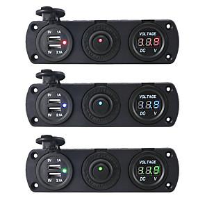 povoljno Punjači za auto-dc12v 3.1a auto punjač tri rupe ploča s dual usb port prekidač napon mjerač napajanja adaptera utičnicu
