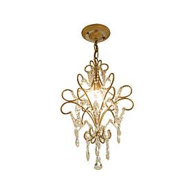 povoljno Viseća rasvjeta-starinski metal / kristal luster antički željezo umjetnost luster sa visećim kristal strop svjetlo učvršćenje visina podesiva zlatna \ t