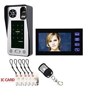 preiswerte Video Türsprechanlage-IC-Kartenvideotürsprechanlage-Wechselsprechanlage des Fingerabdruckes 7inch mit Türzugangskontrollsystemnachtsicht-Sicherheits-CCTV-Kameraausgangsüberwachung