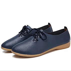 voordelige Dames Oxfords-Dames Oxfords Platte hak Leer Lente Zwart / Wit / Oranje