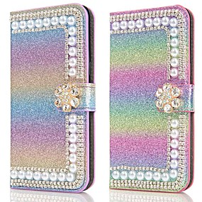 cheap Samsung Case-Case For Samsung Galaxy A51 A31 A71 Wallet / Card Holder / with Stand Glitter Shine Pearl Flower Buckle PU Leather Case For Samsung A70E A41 A11 A21 A91 A81 A20e A10e A50s A30s A70s A20 M20 M10 A750