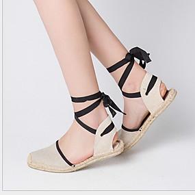 voordelige Damesschoenen met platte hak-Dames Platte schoenen Platte hak Ronde Teen Gestrikt lint Canvas Lente & Herfst Zwart / Blauw / Khaki / Gestreept