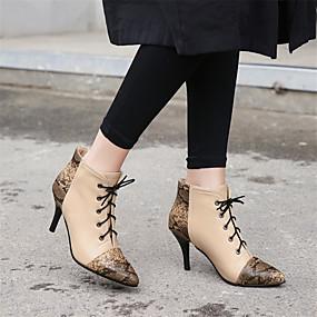 billige Mote Boots-Dame Støvler Stiletthæl Spisstå Dyremønster PU Ankelstøvler Høst vinter Svart / Vin / Mandel / Fargeblokk