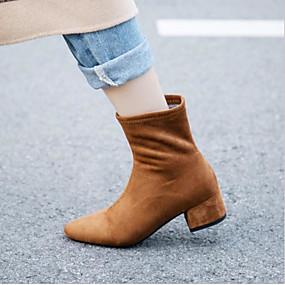 billige Mote Boots-Dame Støvler Tykk hæl Rund Tå Polyester Vår Svart / Beige / Mørkebrun