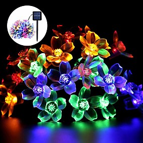 cheap Light Strips & Strings-Solar String Lights, 50 LED Fairy Peach Flower Lights, Christmas Solar Rope Light for Outdoor Garden Holiday Party Decoration