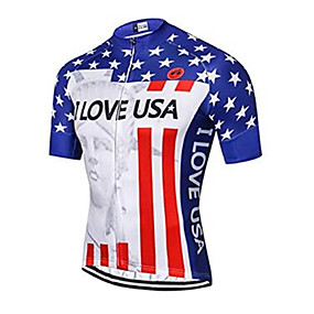 cheap Cycling & Motorcycling-21Grams American / USA USA National Flag Men's Short Sleeve Cycling Jersey - Red+Blue Bike Jersey Top Quick Dry Moisture Wicking Breathable Sports Summer Elastane Terylene Polyester Taffeta Mountain