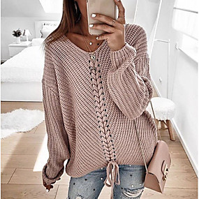 cheap Winter Clothing-Women's Casual Knitted Solid Colored Long Sleeve Pullover Sweater Jumper, V Neck Spring / Fall Blushing Pink / Red / Navy Blue S / M / L