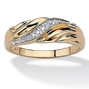 olcso Évforduló-Férfi Band Ring 1db Arany Ezüst Réz Strassz Arannyal bevont Geometric Shape Egyedi Divat Napi Munka Ékszerek Klasszikus Értékes Menő