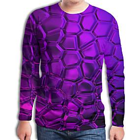 preiswerte Herrenmode-Herrn Geometrisch / 3D - Street Schick / Übertrieben T-shirt Gefaltet / Druck Purpur