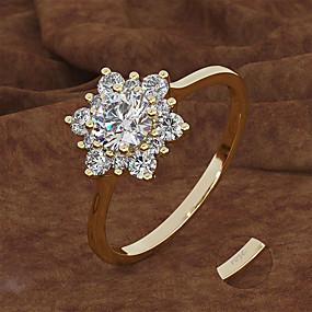 preiswerte Gravierte Ringe-Personalisiert Angepasst Klar Kubikzirkonia Ring Klassisch Geschenk Versprechen Festival Geometrische Form 1pcs Gold Silber