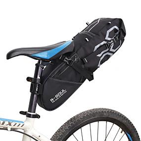 preiswerte Fahrradsatteltaschen-B-SOUL 12 L Fahrrad-Sattel-Beutel Hohe Kapazität Wasserdicht Reflexstreiffen Fahrradtasche Polyester PVC Tasche für das Rad Fahrradtasche Rennrad Geländerad