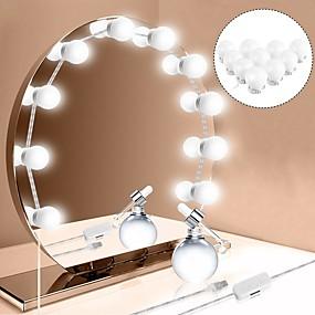 economico Resta a casa-1 set led specchio cosmetico 10 lampadine usb ricarica trucco specchi lampadina luminosità regolabile luci specchio per il trucco