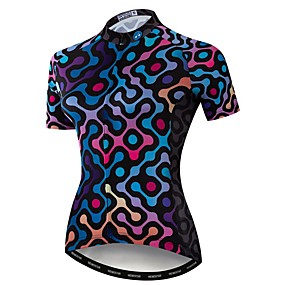 cheap Cycling & Motorcycling-21Grams Women's Short Sleeve Cycling Jersey Summer Elastane Polyester Blue Bike Jersey Top Mountain Bike MTB Road Bike Cycling Quick Dry Moisture Wicking Breathable Sports Clothing Apparel