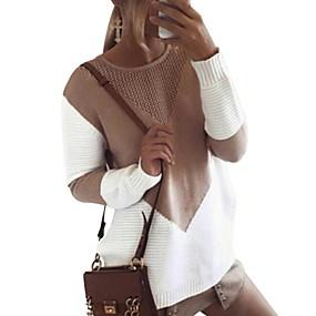 billige Lange stiler-Dame Geometrisk Langermet Pullover Genserjumper, Rund hals Svart / Grå / Kakifarget S / M / L