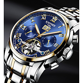 cheap Brand Watches-KINYUED Men's Skeleton Watch Mechanical Watch Automatic self-winding Black / Silver 30 m Water Resistant / Waterproof Calendar / date / day Day Date Luxury Classic Casual Fashion - Gold / White