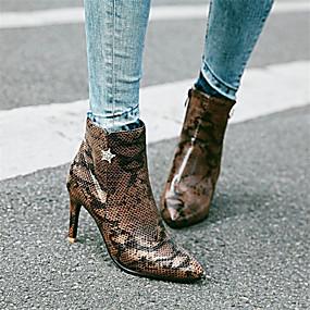 billige Mote Boots-Dame Støvler Trykk sko Stiletthæl Spisstå Rhinsten PU Ankelstøvler Høst vinter Brun / Sølv / Rosa / Fest / aften