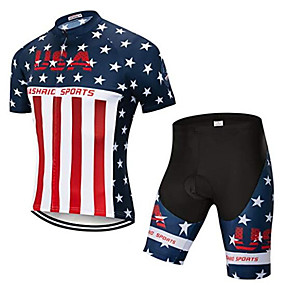 cheap Cycling & Motorcycling-21Grams American / USA USA National Flag Men's Short Sleeve Cycling Jersey with Shorts - Red+Blue Bike Clothing Suit Anatomic Design Quick Dry Moisture Wicking Sports Summer Elastane Terylene
