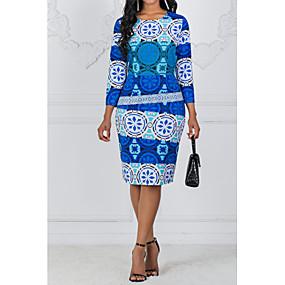preiswerte Gratis Versand-Damen Übergrössen Grundlegend Hülle Kleid Geometrisch Knielang
