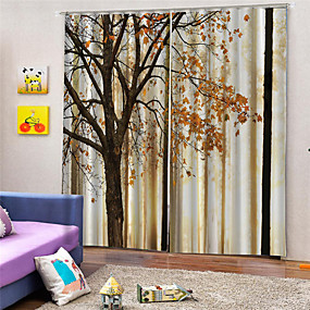 cheap Curtains & Drapes-3D Print Privacy Two Panels Custom Polyester Curtain For Study Room / Office / Living Room Decorative Dust-proof Waterproof High-quality  Curtains