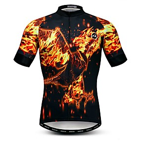 cheap Cycling & Motorcycling-21Grams Men's Short Sleeve Cycling Jersey Summer Elastane Lycra Polyester Black 3D Animal Bike Jersey Top Mountain Bike MTB Road Bike Cycling Quick Dry Moisture Wicking Breathable Sports Clothing