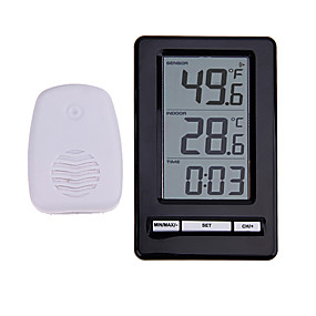 cheap New Arrivals-TS-WS-47 Wireless Digital Thermometer Indoor Outdoor Thermometer Time Display Clock Table Stand Weather Station