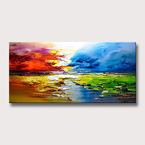 cheap Abstract Paintings-Oil Painting Handmade Hand Painted Wall Art Home Decoration Décor Living Room Bedroom Abstract Landscape Modern Contemporary Rolled Canvas Rolled Without Frame