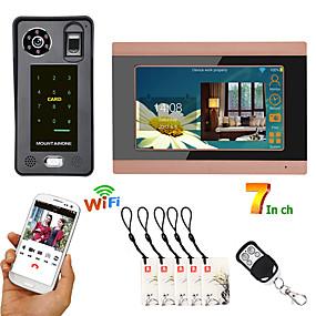 preiswerte Video Türsprechanlage-7 zoll verdrahtete wifi fingerabdruck ic karte video türsprechanlage türklingel gegensprechanlage mit tür zugangskontrollsystemunterstützung remote app entsperren aufnahme