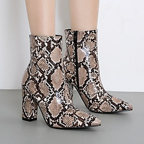 billige Mote Boots-Dame Støvler Tykk hæl Spisstå Dyremønster Lakklær Ankelstøvler Sommer Brun