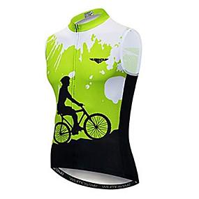 cheap Cycling & Motorcycling-21Grams Men's Sleeveless Cycling Jersey Cycling Vest - Green Bike Jersey Top Quick Dry Moisture Wicking Breathable Sports Summer Elastane Terylene Polyester Taffeta Mountain Bike MTB Road Bike Cycling