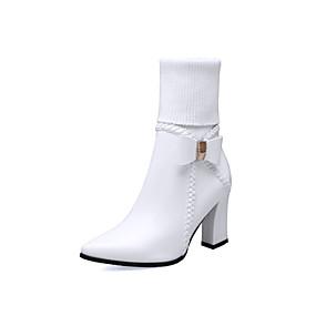 billige Mote Boots-Dame Støvler Tykk hæl Spisstå Mikrofiber Ankelstøvler Høst vinter Svart / Hvit / Beige / Fest / aften