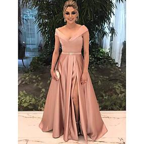 preiswerte Ausverkauf-A-Linie Schulterfrei Boden-Länge Satin Formeller Abend Kleid mit durch LAN TING Express