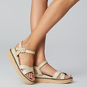 preiswerte Sandalen mit Keilabsatz-Damen Sandalen Sandalen mit Keilabsatz Keilabsatz Runde Zehe Schnalle Vlies Frühling / Sommer Schwarz / Gelb / Rosa