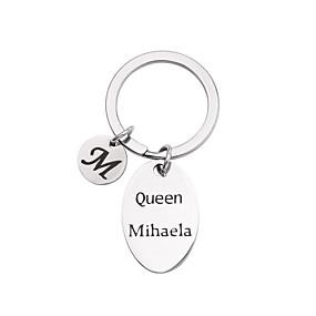 preiswerte Graviertes Zubehör-Personalisiert Angepasst Schlüsselanhänger Edelstahl Geschenk Oval 1pcs Silber / Laser Gravur