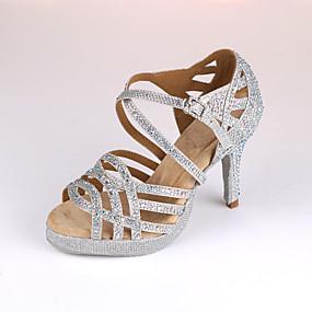 저렴한 댄스 신발-여성용 댄스 신발 Synthetics 라틴 슈즈 힐 슬림 하이힐 주문제작 가능 슬리버 / 블루 / 성능 / 가죽 / 연습용
