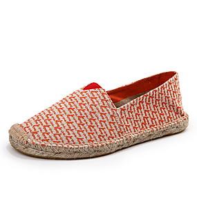 voordelige Damesschoenen met platte hak-Dames Platte schoenen Blokhak Ronde Teen Canvas Zomer Zwart / Geel
