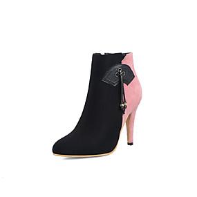 billige Mote Boots-Dame Støvler Konisk hæl Spisstå Dusk Semsket lær Ankelstøvler Chinoiserie Høst vinter Rosa / Brun / Fest / aften / Fargeblokk