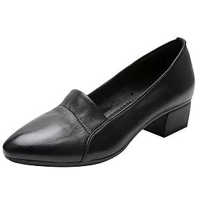 voordelige Damesinstappers & loafers-Dames Loafers & Slip-Ons Blokhak Ronde Teen Nappaleer Informeel / minimalisme Lente & Herfst Zwart / Beige / Vleeskleurig