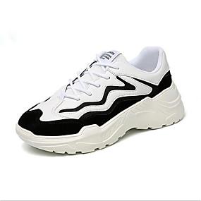 voordelige Damessneakers-Dames Sneakers Platte hak Ronde Teen Polyester Lente Zwart / Beige / zwart / wit