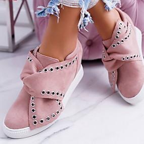 voordelige Damesschoenen met platte hak-Dames Platte schoenen Lage hak Ronde Teen Siernagel Suède Lente & Herfst Zwart / Grijs / Roze