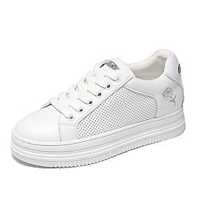 voordelige Damessneakers-Dames Sneakers Creepers Ronde Teen Imitatieparel Microvezel Informeel / Zoet Lente zomer Wit / zilver / Goud / Feesten & Uitgaan
