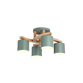 preiswerte Beleuchtung-Kronleuchter Metall Lampenschirm moderne Deckenleuchten halb bündig Holz Deckenleuchte runde Form für Arbeitszimmer Schlafzimmer Gästezimmer 4 Lichter