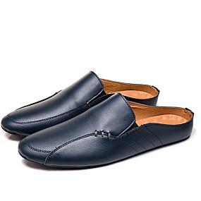 cheap Men's Clogs & Mules-Men's Comfort Shoes Cowhide Summer Casual / British Clogs & Mules Walking Shoes Breathable Black / White / Blue