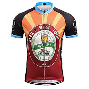 cheap Cycling & Motorcycling-21Grams Men's Short Sleeve Cycling Jersey Summer Orange Retro Novelty Oktoberfest Beer Bike Jersey Top Mountain Bike MTB Quick Dry Moisture Wicking Breathable Sports Clothing Apparel / Micro-elastic