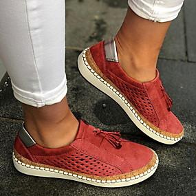 voordelige Damesschoenen met platte hak-Unisex Platte schoenen Platte hak Ronde Teen Kwastje Canvas Lente & Herfst Zwart / Groen / Rood