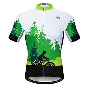 cheap Cycling & Motorcycling-21Grams Men's Short Sleeve Cycling Jersey Summer Elastane Lycra Polyester Green Novelty Bike Jersey Top Mountain Bike MTB Road Bike Cycling Quick Dry Moisture Wicking Breathable Sports Clothing