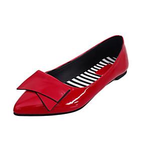 voordelige Damesschoenen met platte hak-Dames Platte schoenen Platte hak Gepuntte Teen Strik PU Zoet Wandelen Lente zomer / Herfst winter Zwart / Groen / Rood